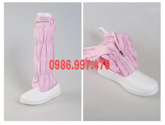 Giày cao cổ phòng sạch màu hồng