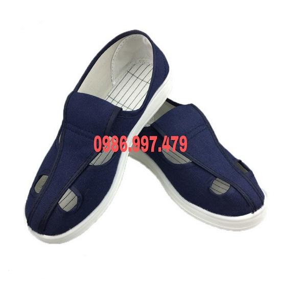 Giày phòng sạch 4 lỗ màu xanh đen